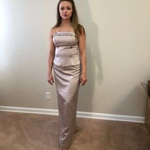 Jordan Gold Satin Strapless Gown/Shoes S